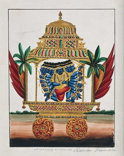 Ravana, the demon king on his Veeman, a mythological plane or chariot. Gouache painting by an Indian painter. Created between 1800 and 1899?. Work ID: ksdemme2.