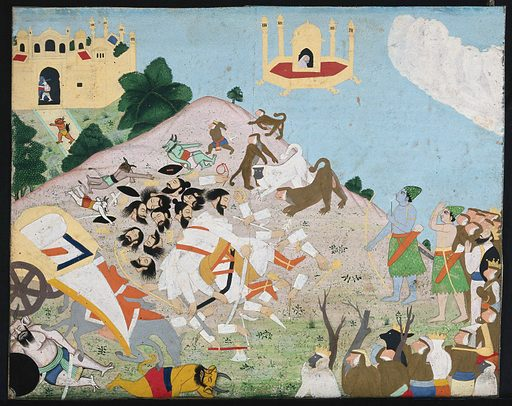 The death of Ravana, the ten headed demon king of Lanka by Lord Rama, his brother Lakshman and an army of monkeys. Gouache painting by an Indian painter. Created between 1800 and 1899?. Work ID: kzhzdmk3.