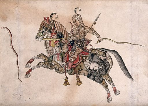 A warrior wearing armour riding on a mythical creature in the shape of a horse, but formed by a variety of animals, people, birds and fish, holding a snake in each hand. Gouache painting by an Indian painter. Created between 1800 and 1899?. Work ID: f76ej82h.