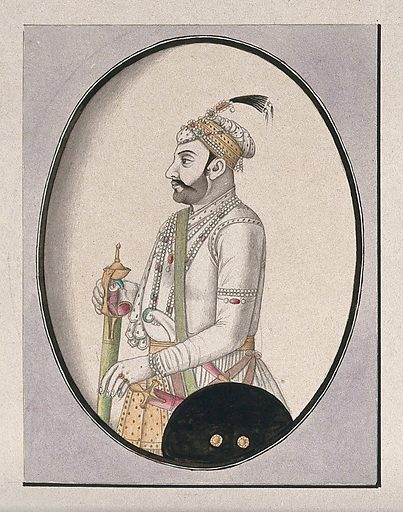 A member of the Mughal royal family (?). Watercolour drawing by an Indian artist. Work ID: j6zgg4t9.