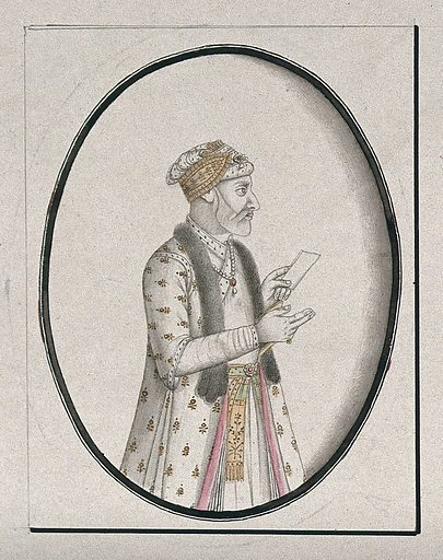 A Mughal courtier holding a piece of paper. Watercolour drawing by an Indian artist. Work ID: y87fvbdq.