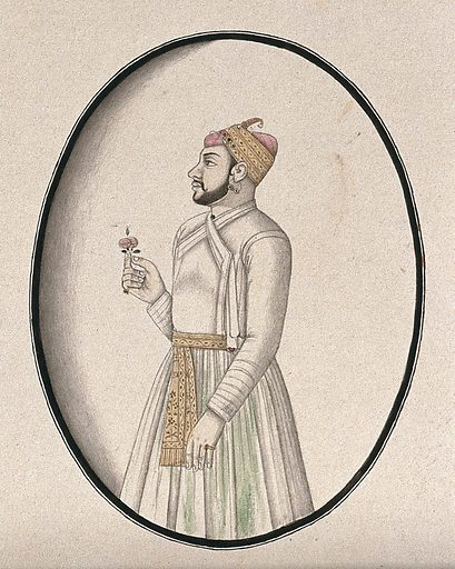 A Mughal courtier holding a flower. Watercolour drawing by an Indian artist. Work ID: q8wne53p.