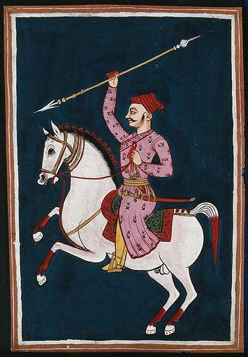 A Rajput warrior on a horse holding a spear. Gouache painting by an Indian painter. Work ID: u453x2sm.