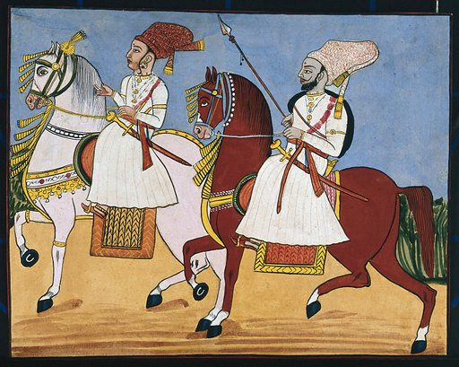 A male and female attendant riding on horses. Gouache painting by an Indian painter. Created between 1800 and 1899?. Work ID: yk9dhby4.