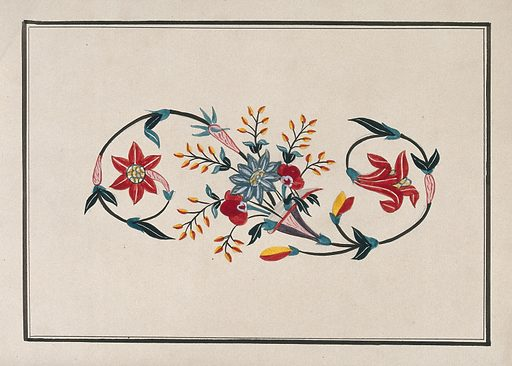 A floral design for pietra dura (marble inlaid with semi-precious stones). Gouache painting by an Indian artist. Created between 1800 and 1899?. Work ID: abc28yuz.