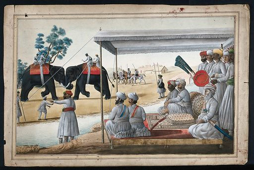 A Nawab and his guest watching an elephant fight. Gouache painting by an Indian painter. Created between 1800 and 1899?. Work ID: hsca9vjs.