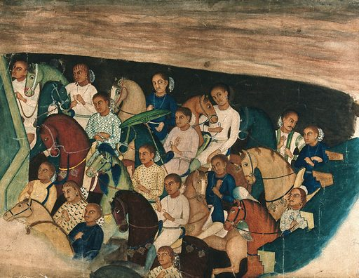 Cave paintings; a group of Indo Africans on horseback. Gouache painting by an Indian painter. Created between 1800 and 1899?. Work ID: a7sjfzb2.