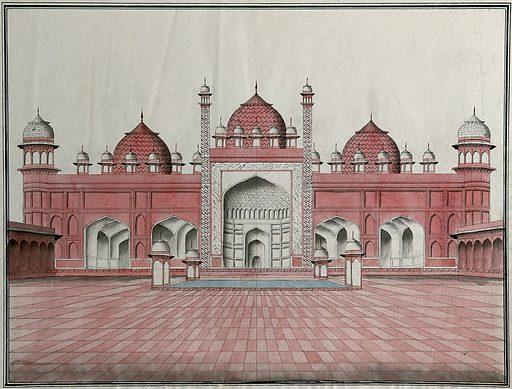 Agra, Jumma Masjid. Watercolour drawing by an Indian artist. Created between 1800 and 1899?. Work ID: de6yasnn.