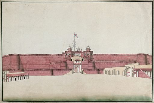 A Mughal Fort, probably in Agra. Watercolour painting by an Indian artist. Created between 1800 and 1899?. Work ID: ft4kcacn.