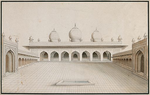 Agra Fort: Moti Masjid, view of the courtyard. Watercolour drawing by an Indian artist. Created between 1800 and 1899?. Work ID: w9ry5xcx.