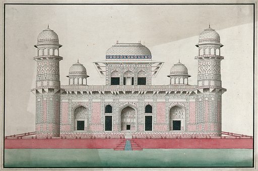 Agra: marble mausoleum of I'timad al Daula, decorated with mosaic and marble inlay work. Gouache painting by an Indian painter. Created between 1800 and 1899?. Work ID: jypduxqj.