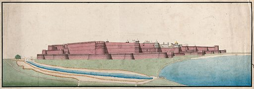 Agra (?), Red Fort. Gouache painting by an Indian painter. Created between 1800 and 1899?. Work ID: f7k2erd2.
