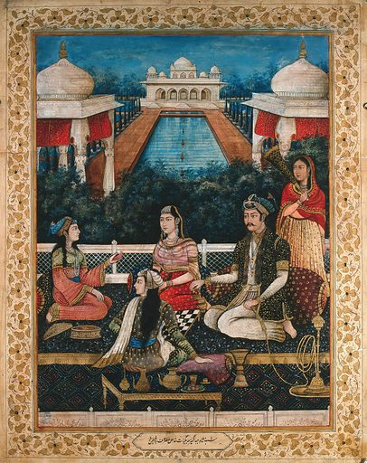 Emperor Akbar (?) holding a hookah pipe, sitting with three women and playing a board game while a female attendant stands behind him with a fan. Gouache painting by an Indian painter. Created between 1800 and 1899?. Work ID: mqauctga.