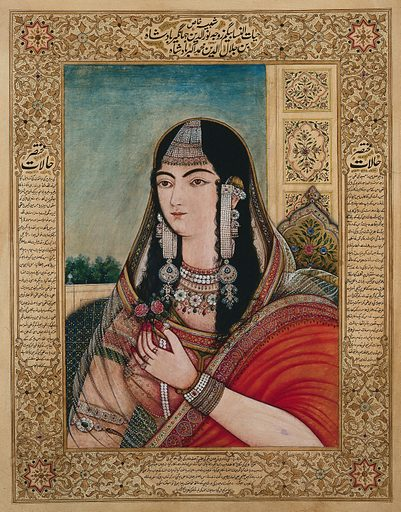 A Mughal empress or member of a royal family wearing very long earrings and holding a flower. Gouache painting by an Indian painter. Created between 1800 and 1899?. Work ID: xcebw2ky.
