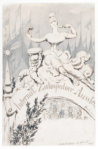 A baroque sculpture forming an allegory of dentifrice at the entrance to an international toothpowder exhibition. Drawing by A Oberländer, ca 1900. A fantasy, showing the entrance to a grand international exhibition on toothpowder, marked by an arch containing an allegorical statue: a woman in modern dress raises with one hand a box of toothpowder from a bowl held by a putto, while holding a loaded toothbrush in the other hand. She is tightly corseted. A throng of people passes beneath the arch. Beyond, pavilions flying flags. A satire on grandiose neo-baroque buildings such as the World's Columbian Exposition in Chicago (1893) and the Grand Palais in Paris (1900), which were used to display trade fairs of humble household or industrial goods. The Munich Messehallen, built in 1907–1908, eschewed such decorations, which had by then become old-fashioned, as shown by this satire. Created 1900?. Trade shows. Exhibition buildings – Design and construction. Dentifrices. Corsets. Baroque. Sculpture. Contributors: Adolf Oberländer (1845–1923). Work ID: t9tsfwhb.