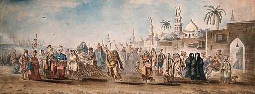 Women dancing in a busy street in a North African (?) country. Watercolours by an European artist. Created between 1800 and 1899?. Work ID: natf7b6y.
