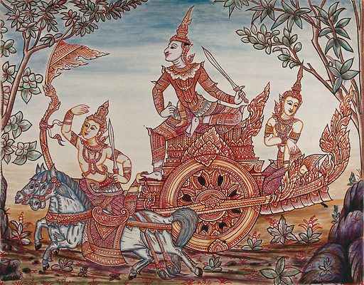 A scene from Ramakian or Ramayan, the Indian epic: Rama riding on top of a chariot holding a sword, along with Lakshman and Sita (?). Gouache painting by a Thai artist. Created between 1800 and 1899?. Work ID: j6vezf2h.