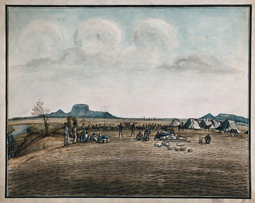Campsite: guards on duty, horses grazing, food being prepared and people sitting around. Gouache painting by an European artist. Created between 1800 and 1899?. Work ID: t87e4td2.