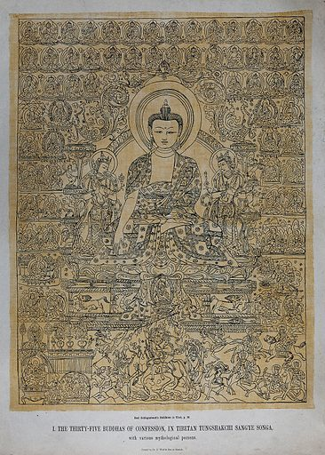 The thirty-five Buddhas of confession, in Tibetan Tungshakchi Sangye Songa, with various mythological persons. Chromolithograph. Created 1863?. Work ID: cpe5whfv.