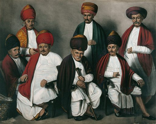 A family portrait of all the male members. Lithograph. Created between 1800 and 1899?. Work ID: x5q3f42k.