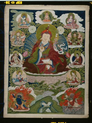 Guru Rinpoche (Padmasambhava), the main founder of Buddhism in Tibet, surrounded by other forms of himself. Gouache painting by a Tibetan artist. Created between 1800 and 1899?. Padma Sambhava (approximately 717–approximately 762). Work ID: w5uzamns.
