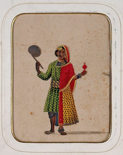 A figure dressed as half male and half female, holding a fan in one hand and a ritual object in the other. Gouache painting on mica by an Indian artist. Created between 1800 and 1899?. Work ID: nzun9k7y.