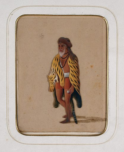 A sanyasi with a tiger skin wrapped around himself. Gouache painting on mica by an Indian artist. Created between 1800 and 1899?. Work ID: pvw42gad.