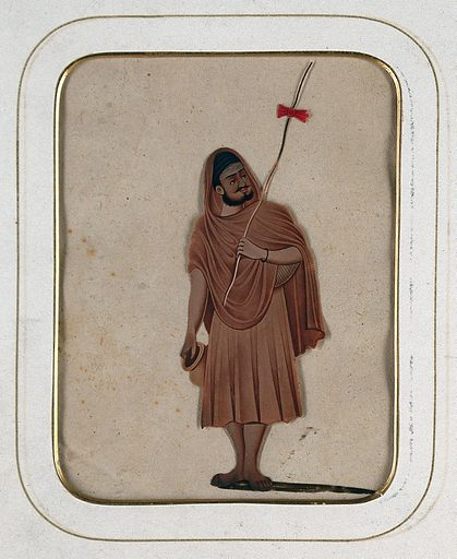 A holy man holding a stick and a water pot. Gouache painting on mica by an Indian artist. Created between 1800 and 1899?. Work ID: z9egj9yn.