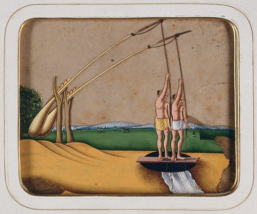 Two men operating a water-lifting device powered by a counterweight. Gouache painting on mica by an Indian artist. Created between 1800 and 1899?. Work ID: brk5x8p6.