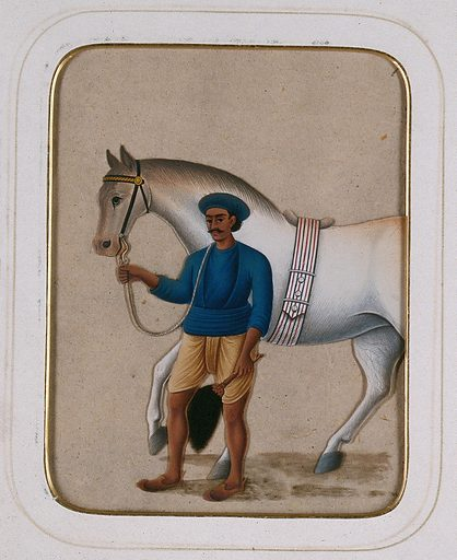 A groom leading a horse. Gouache painting on mica by an Indian artist. Created between 1800 and 1899?. Work ID: z69bq4jz.