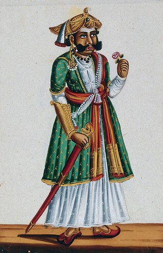 A man from Maharashtra. Gouache painting on mica, by an Indian artist. Created between 1800 and 1899?. Work ID: mjgzyn9y.