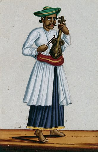 A fiddler of Moorish descent (?). Gouache painting on mica, by an Indian artist. Created between 1800 and 1899?. Work ID: uaehp3rm.