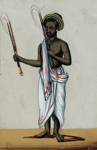 A whip seller holding his whips. Gouache painting on mica by an Indian artist. Created between 1800 and 1899?. Work ID: ekeyw6ve.
