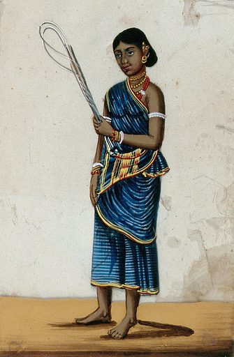 A whip sellers's wife holding some whips. Gouache painting on mica by an Indian artist. Created between 1800 and 1899?. Work ID: h2ayyjfh.