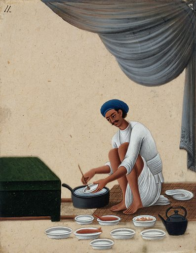 A man washing dishes. Gouache painting on mica by an Indian artist. Created between 1800 and 1899?. Work ID: znag6spt.