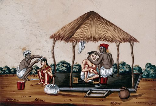 Two barbers at work. Gouache painting on mica by an Indian artist. Created between 1800 and 1899?. Work ID: bnpjdbtz.
