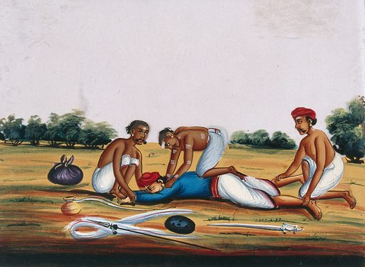 Three men accosting a man, who is pinned to the ground. Gouache painting on mica by an Indian artist. Created between 1800 and 1899?. Work ID: jauqncn2.