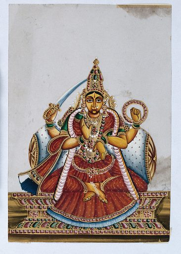 A four armed Indian goddess with her lower right hand raised in a abhaya mudra, upper right holding a sword and her upper left arm holding a chakra. Gouache painting on mica by an Indian artist. Created between 1800 and 1899?. Work ID: dv7rmxjc.