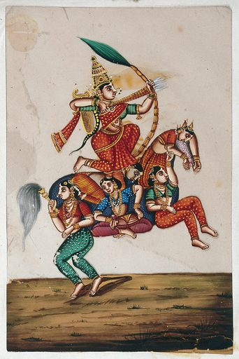 A goddess sitting on a horse formed from five women, shooting an arrow. Gouache painting on mica by an Indian artist. Created between 1800 and 1899?. Work ID: rrkjkmmx.
