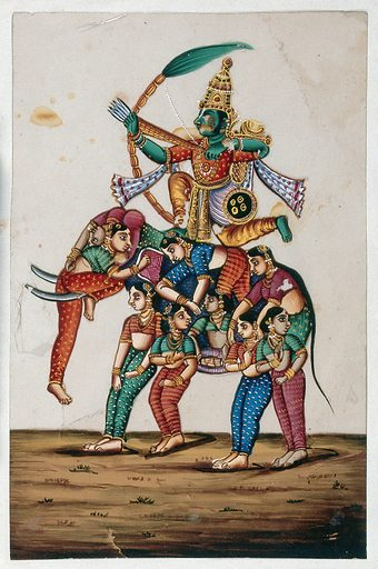 An Indian deity sitting on a elephant made up of women, shooting an arrow. Gouache painting on mica by an Indian artist. Created between 1800 and 1899?. Work ID: pjbbyjft.