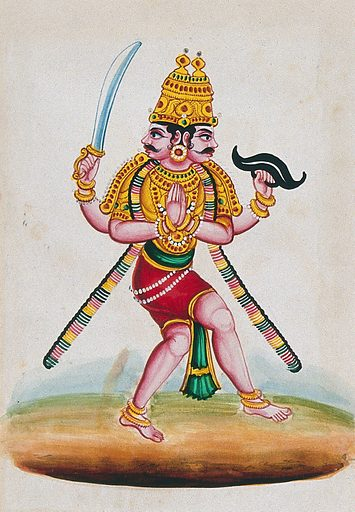 An Indian deity with two heads and four arms, Veerabhadra (?). Gouache painting by an Indian artist. Created between 1800 and 1899?. Work ID: j7w9xgbe.