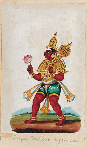 An Indian deity holding a mace and a lotus flower. Gouache painting by an Indian artist. Created between 1800 and 1899?. Work ID: mrrbsh8c.