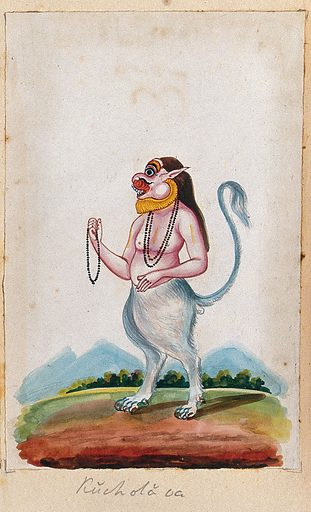 An Indian deity (?) with a human torso and the legs and tail of a lion(?), holding prayer beads in his hand. Gouache painting by an Indian artist. Created between 1800 and 1899?. Work ID: uxdnt3kq.
