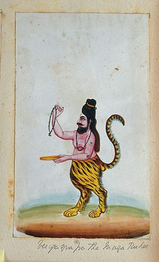 A maharishi (Hindu teacher of mystical knowledge) with the head and torso of a human and the legs and tail of a tiger. Gouache painting by an Indian artist. Created between 1800 and 1899?. Work ID: b3aev4rx.