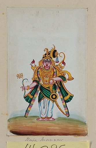 Raja Munnar (?) holding his weapons. Gouache painting by an Indian artist. Created between 1800 and 1899?. Work ID: c98yfa4t.