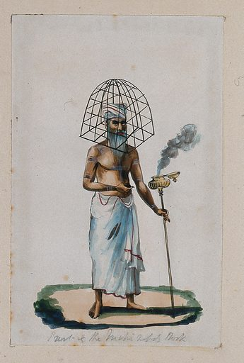 A priest with a protective cage (?) covering his head, holding a stick with smoke coming out of a pot attached at the top. Watercolour by an Indian artist. Created between 1800 and 1899?. Work ID: n5e2n442.