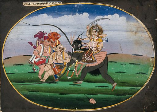 Devi seated on the goddess of death (?) as she collects the demons. Gouache painting by an Indian artist. Created between 1800 and 1899?. Work ID: vu898ttr.