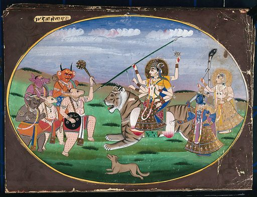 Devi seated on a tiger, along with two other goddesses, prepares to battle the five demons. Gouache painting by an Indian artist. Created between 1800 and 1899?. Work ID: k3gtk2nn.