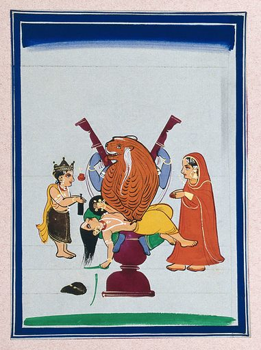 An episode in an Indian mythological story: a figure, part tiger, part man slaughters a man lying before him, whilst a couple watches with folded hands. Gouache painting by an Indian artist. Created between 1800 and 1899?. Work ID: vdus5pgh.