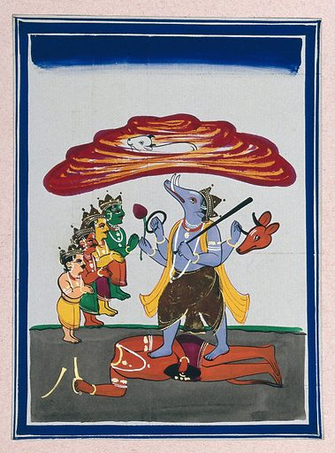 Vishnu in his avatar as Varaha slaying the demon Hiryanyaksa to save the earth. Gouache painting by an Indian artist. Created between 1800 and 1899?. Work ID: n8yz7v7p.